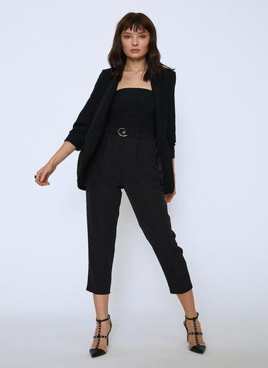 Quzu Şal Yaka Kollu Büzgülü Basic Blazer Ceket Siyah